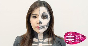 Cara Make up Wajah Half Skull Make up untuk Halloween Kamu
